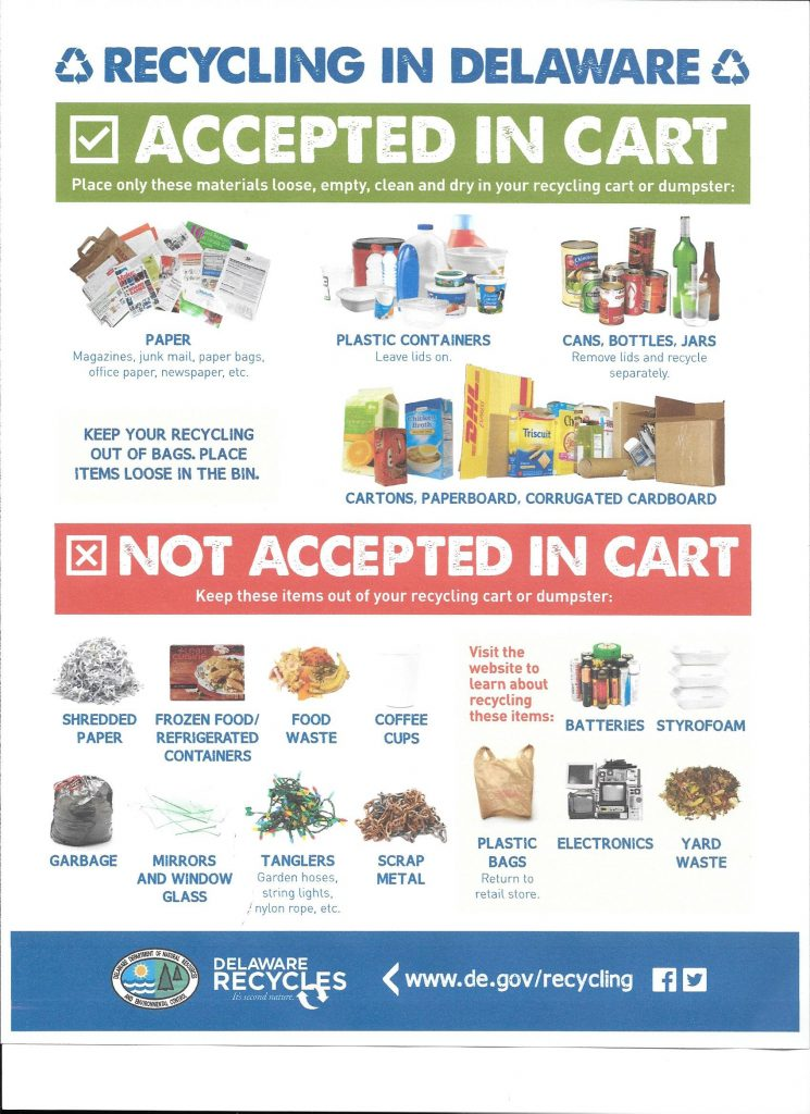 Flyer on what is and isn't acceptable recycling
